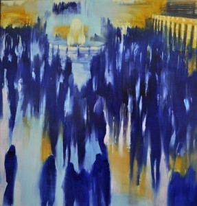 march14,17,Grand Central Station, Arrivals,step one, oil on canvas,48x48