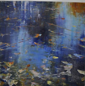 aug16,8,step 1,crossing reflections, oil on aluminum,36x36