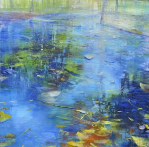 aug16,8,stpe two,shallow stream,oil on anodized aluminum,36x36