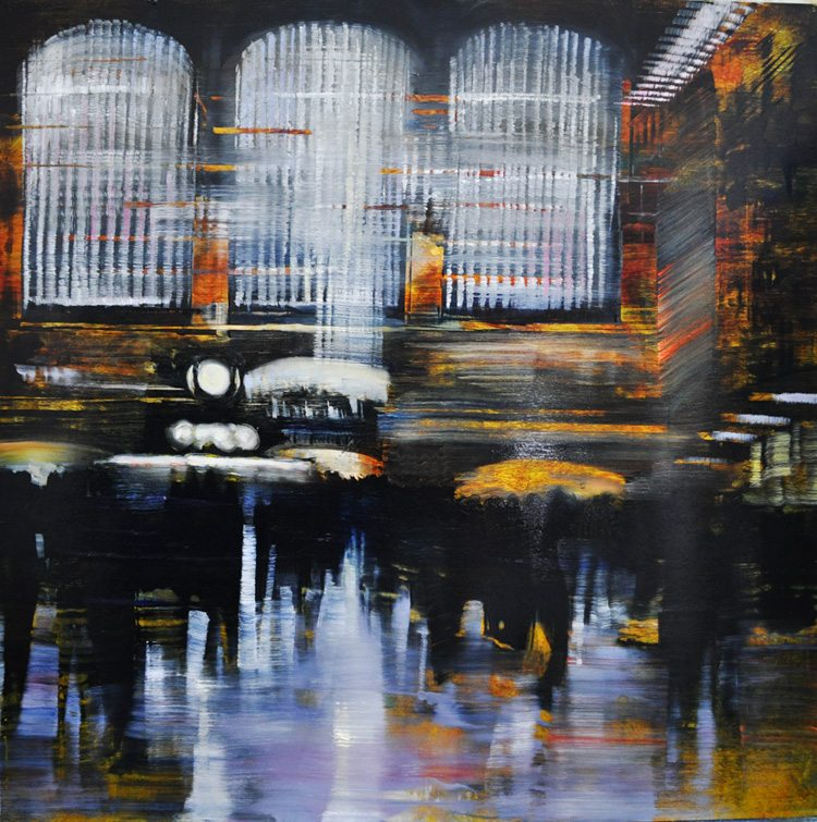 Grand Central Terminal, Percussive Lights Oil on brushed silver anodized aluminum, 36x36 (2015)