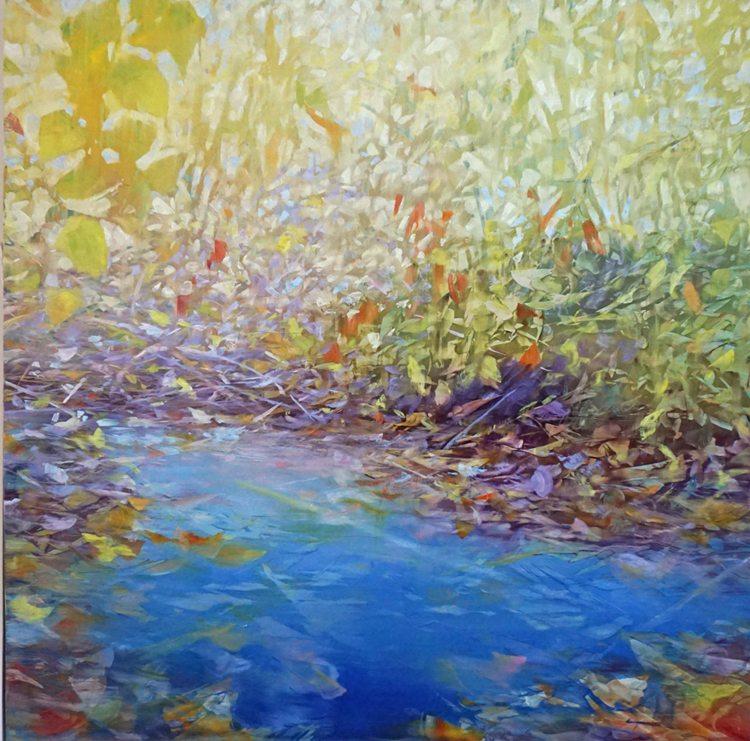 Water under Autumn Thicket (2015) Oil on anodized aluminum, 48x48
