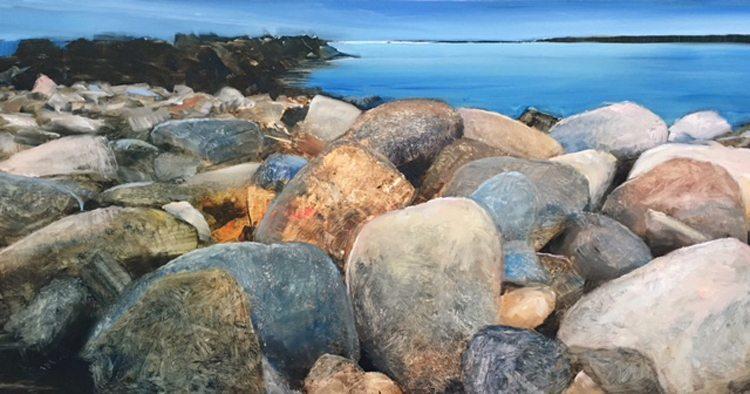 Shoreline Rocks (2017) Oil on brushed silver anodized aluminum, 12x22