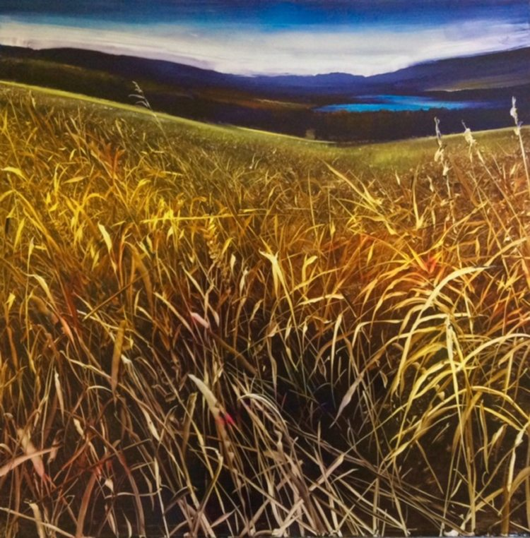 Whispering Meadow Oil on anodized aluminum,36x36