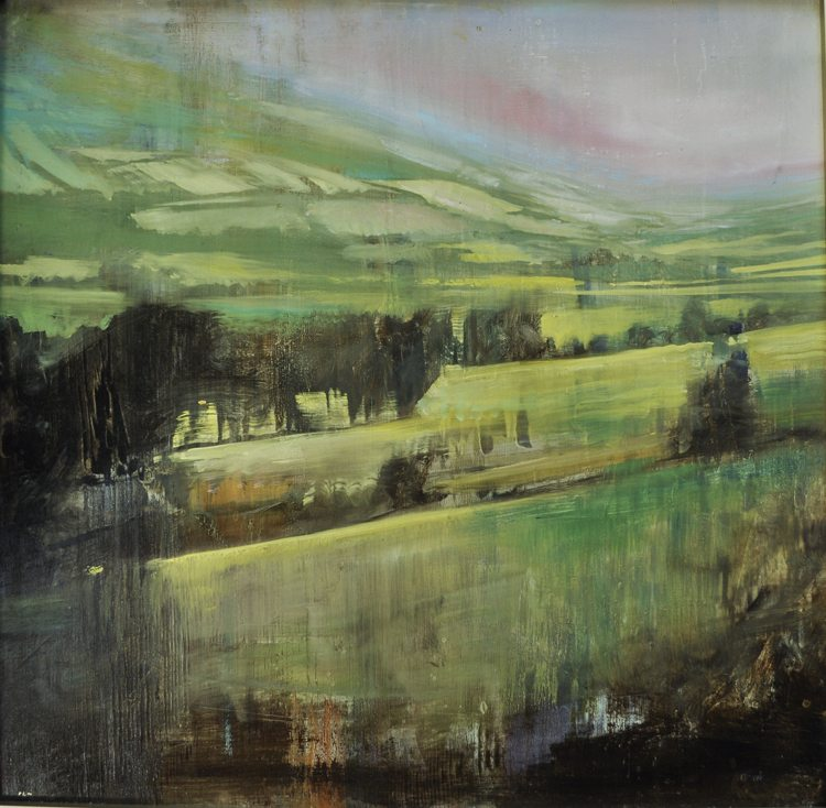 Irish Rain Oil on anodized aluminum,24x24 Collaboration by Max and David Dunlop