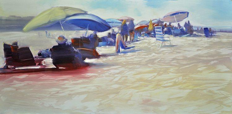 Beach life, Bright Sand (2015) Oil on anodized aluminum, 24x48