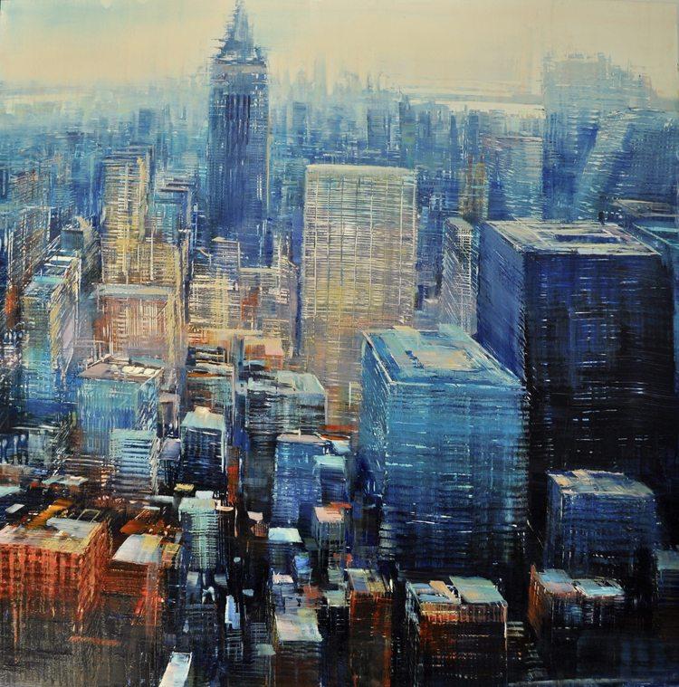 Symphony in Blue, Oil on laminated aluminum, 36x36