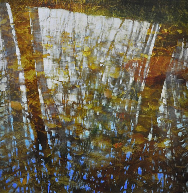 April Translucence  (2015)  Oil on anodized aluminum, 36x36