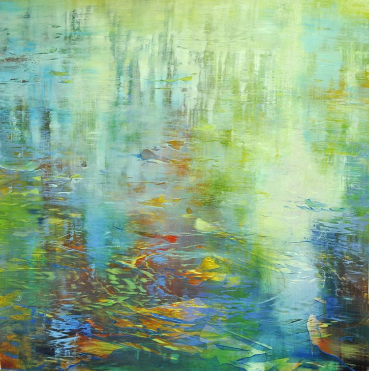 Water, Vertical Reflections (2015) Oil on brushed gold anodized aluminum 36x36 SOLD