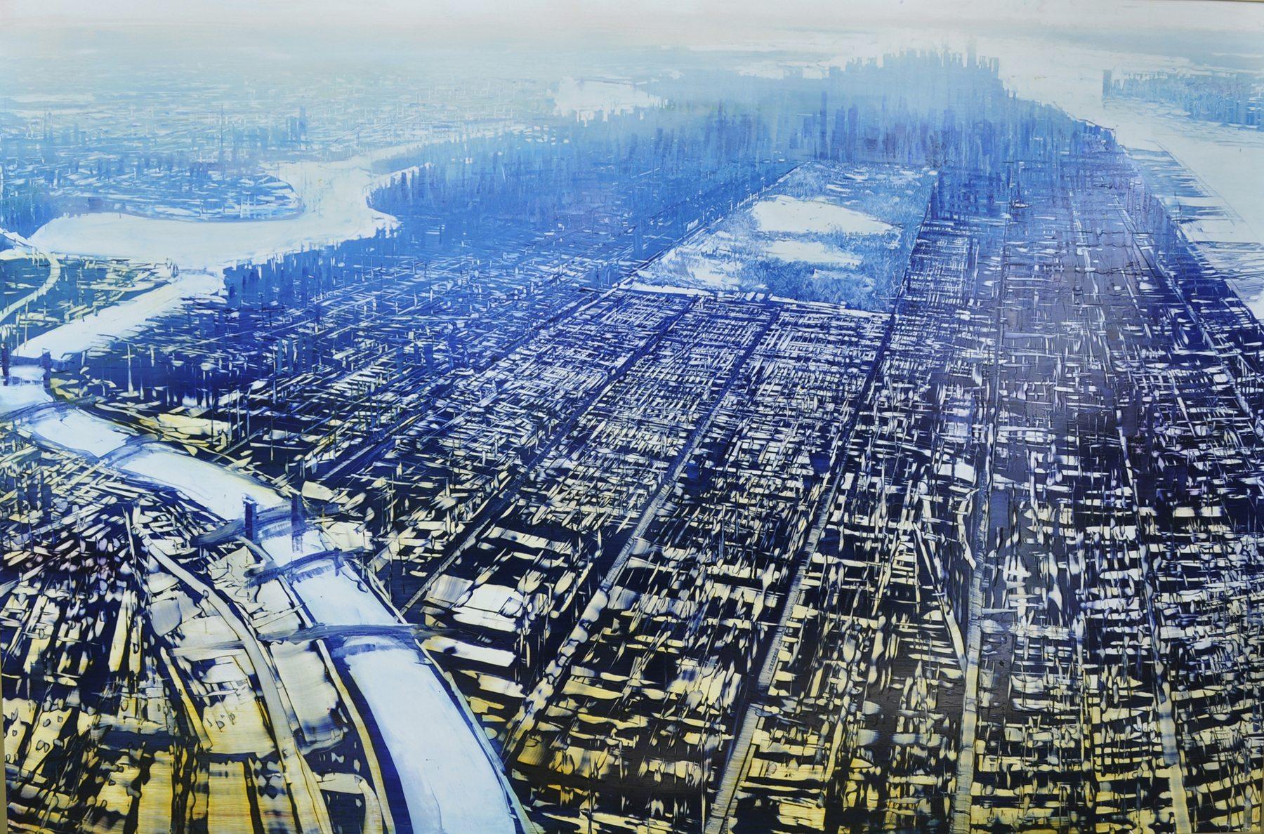 Aerial, Manhattan Horizon (2016) Oil on enameled laminated aluminum, 40x60
