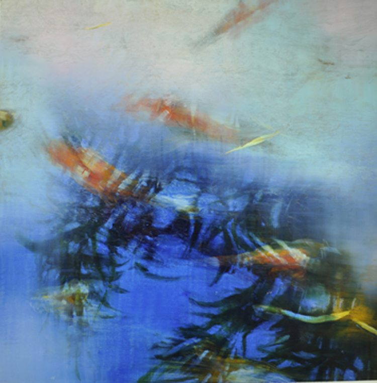 Translucence Fish and Surface-Matters Oil on anodized-aluminum 36x36