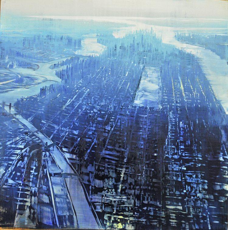 Aerial, Manhattan Horizon Squared,Oil on canvas, 36x36