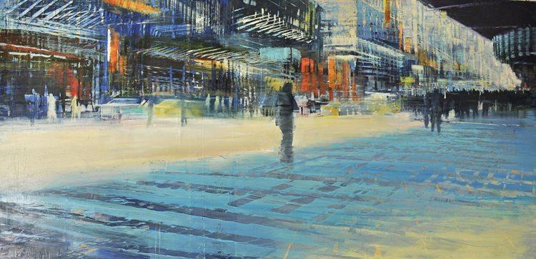 Crossing Corners, Oil on laminated aluminum, 24x48