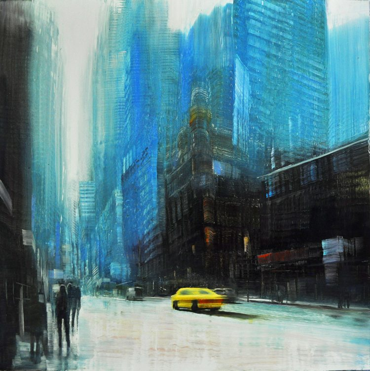 Forever Downtown, Oil on laminated aluminum, 24x24