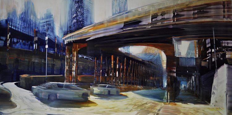 City Bridges, 59th Street aka Queensboro Bridge, Oil on laminated aluminum, 24x48