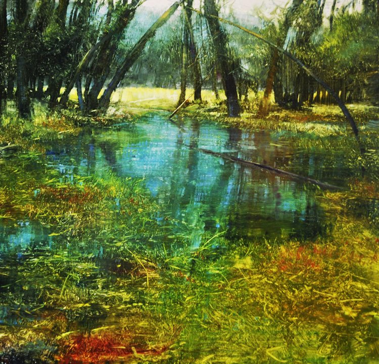 Mountain, Meadow and Stream, Oil on brushed silver laminated aluminum, 24x24