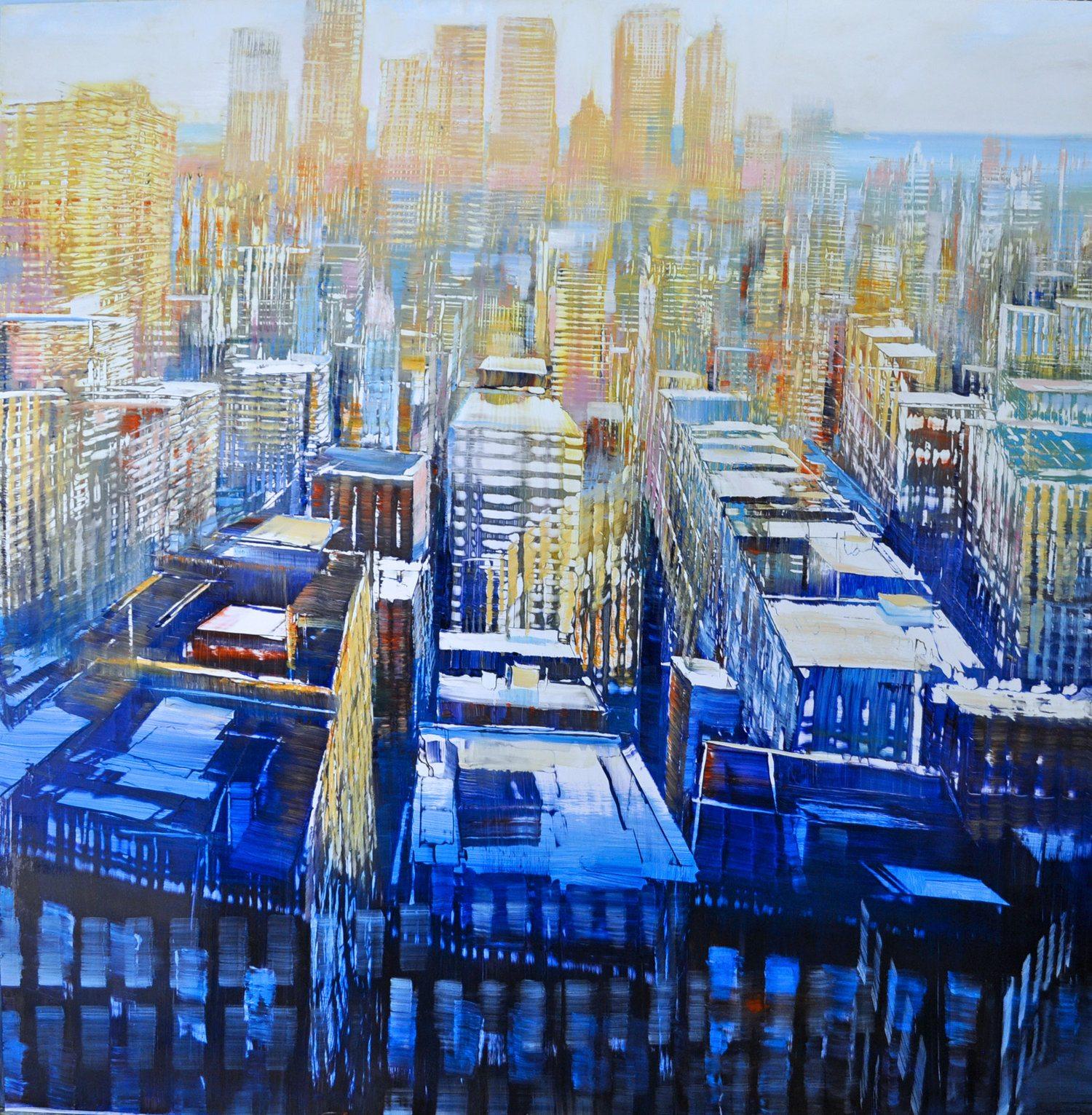 NYC - West Side Horizon Oil on enameled laminated aluminum 48x48