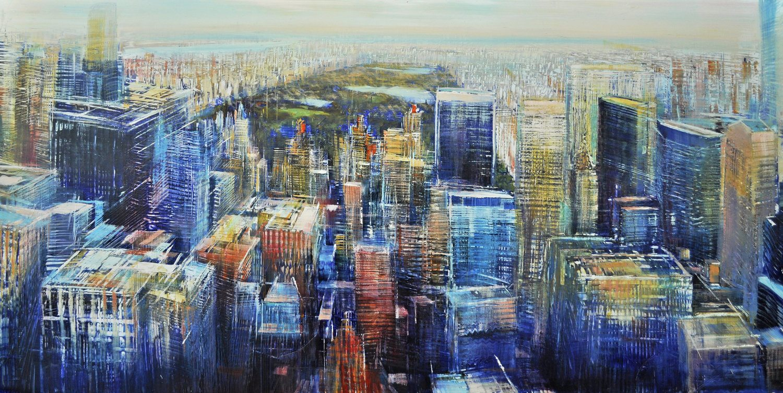Aerial, Manhatttan toward Central Park  Oil on enameled laminated aluminum, 24x48
